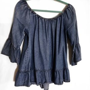 New York & Company Denim Blouse